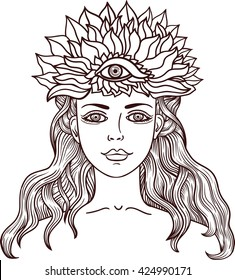 Girl with third eye. Occult illustration. Beautiful girl with third eye Illustration for the tattoo and stickers, banners.