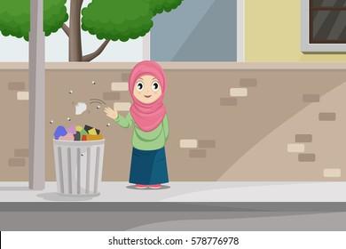 A Girl Throw a Trash Into Garbage Can.Trashcan Vector Illustration on Neighborhood Roadside.