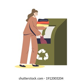 Girl throwing used clothes in container for recycling. Zero waste and eco friendly production concept. Reuse clothing and textile. Cartoon flat vector illustration