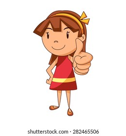 Girl thumbs up, vector illustration