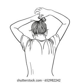 Girl tie her hair in bun with hairband, Hand drawn line art illustration, Vector sketch isolated on white background