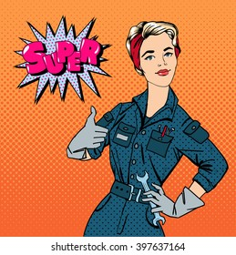 Girl with Tools. Woman Repairer Gesturing Great. Pop Art Banner. Vector illustration