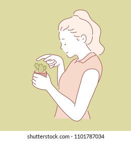 Girl touching a sharp cactus. hand drawn style vector doodle design illustrations.