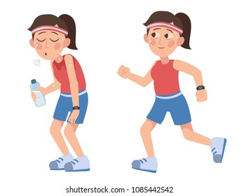 girl in a tracksuit running. the sweaty girl with a bottle of water is tired after a run. hard workout. athletic walking. Sport for beginner.
