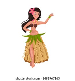 Girl in a traditional Hawaiian costume. Vector illustration on a white background.