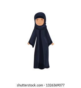 Girl in traditional Muslim dress. Female in black long jilbab. National Islamic clothing. Flat vector design