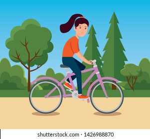 girl training cycling exercise activity