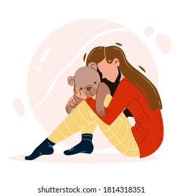 Girl With Trauma Embracing Teddy Bear Toy Vector. Depressed Young Woman Painful Trauma Sitting On Floor, Lady Feeling Pain. Sad Stressed Character Crying Emotion Flat Cartoon Illustration