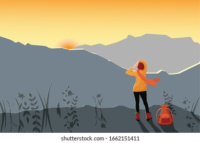 Girl traveler with a backpack meets in the mountains dawn or sunset. Mountain landscape with the setting sun. Vector illustration for design banner, background, advertisement, tourism concept.