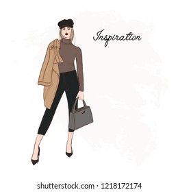 Girl in trendy cap, coat, pants and sweater sketch. Business model runaway poster. Hand drawn girl in glamour street clothes. Fashion illustration.