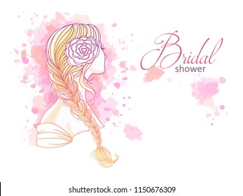 Girl with tress. Wedding  hair style with flowers from the back, hand drawn vector outline illustration for invitation and bridal shower.