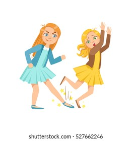 Girl Tripping Smaller Kid Teenage Bully Demonstrating Mischievous Uncontrollable Delinquent Behavior Cartoon Illustration