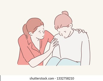 Girl trying to comfort and encourage to her sad best friend stressing. Hand drawn style vector design illustrations.