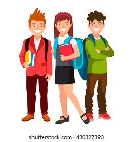 The girl and two boys. Students with backpacks and books. The concept of school education. Vector illustration on white background. Back to school.