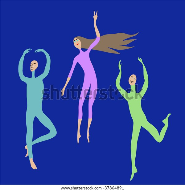 girl and two men are expressing themselves, gymnastics, gym, yoga, dance