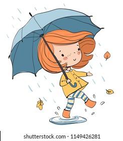 Girl with an umbrella. Autumn