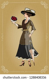 A girl with an umbrella and a bouquet of roses. Belle Epoque vintage poster. Handmade drawing vector illustration. All objects are grouped and divided into layers.