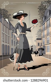 A girl with an umbrella and a bouquet of roses on Paris street. Belle Epoque vintage poster from Paris. Handmade drawing vector illustration. All objects are grouped and divided into layers.