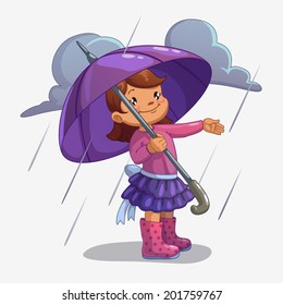 Girl with umbrella, isolated vector