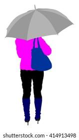Girl with umbrella on the rain vector illustration.