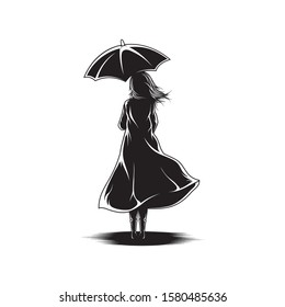 Girl With Umbrella View Back Illustration Vector