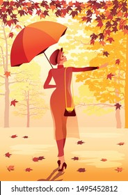 Girl with an umbrella walking in the autumn park. Handmade drawing vector illustration. Retro style poster.