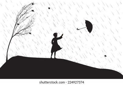 girl under the rain trying to catch umbrella, strong wing is blowing, single tree on the heel