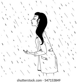 Girl under the rain - vector hand drawn illustration. Beautiful young woman in coat enjoying rainy day outside