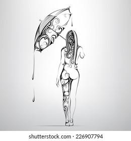 The girl under an umbrella