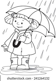 Girl under an umbrella. Little girl in a raincoat and rubber boots hiding under an umbrella from the rain. Coloring page