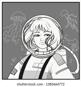 A girl under water in a wetsuit. Jellyfishes and bubbles. Page for coloring