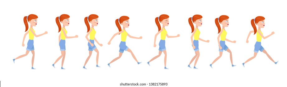 A girl undergone runs. Animated teen character in stop motion.