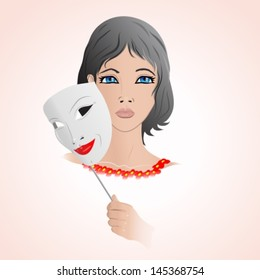 girl with an unhappy face holding a mask with a happy expression. Vector illustration