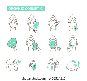 Girl use organic cosmetic products. Line style vector illustration isolated on white background.