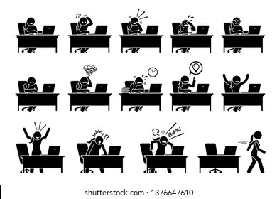 Girl using computer with various poses, actions, feelings, and emotions. Artworks depict woman working on a desk with a laptop with different reactions.