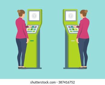 Girl using self-service terminal