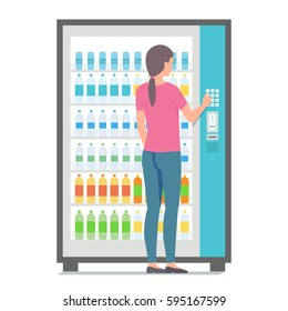 Girl using vending machine with drinks. Vector illustration