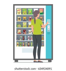 Girl using vending machine with snacks. Vector illustration
