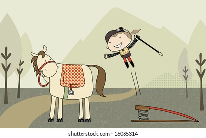 Girl vaulting onto horse  [Female rider using a springboard to mount her horse. Items grouped on separate layers.]