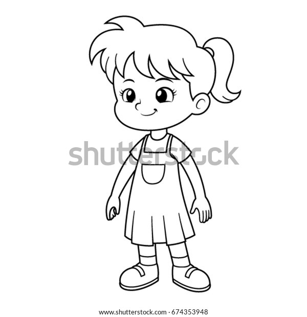 Girl Vector Cartoon Black White Outline Stock Vector Royalty Free 674353948-8912