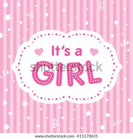 Girl Vector Congratulation Card Baby Shower Stock Vector Royalty