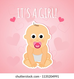 It's a girl, vector design with small cute baby. Pink cartoon baby shower greeting card.