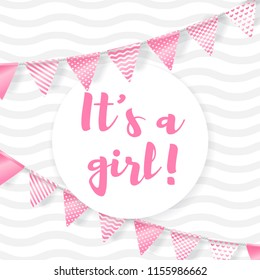Its a girl. Vector greeting card for baby shower