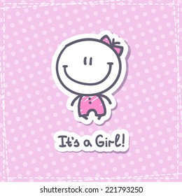 it's a girl, vector hand drawn baby girl with text