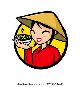 Girl Vector illustration of a girl holding pho bowl.