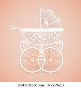 It's a Girl! Vintage baby pram in pink hues on orange background, vector image