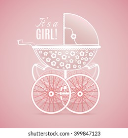 It's a Girl! Vintage baby pram in pink hues on pink background, vector image