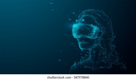 Girl in Virtual Reality Helmet. Drawn low poly vector illustration, polygonal concept. Woman in VR glasses for future, Interface technology, user experience. Futuristic gaming element.
