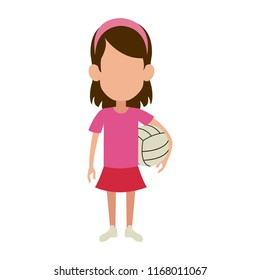 Girl with voleyball ball
