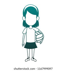 Girl with voleyball ball blue lines